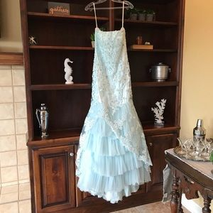 Light Blue Strapless Lace Appliqué Gown Size 8